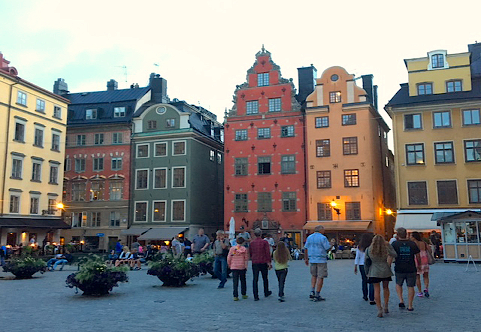 Evening Stroll through a square in Stockholm